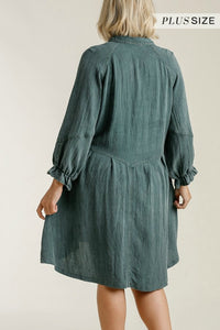 Umgee Forest Green Long Sleeved Dress