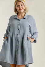 Load image into Gallery viewer, Umgee Light Denim Blue Green Long Sleeved Dress