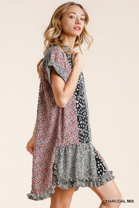 Umgee Charcoal Printed Dress with Ruffle Hem