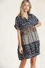 Load image into Gallery viewer, Umgee Navy Mixed Print Tiered Dress