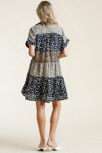 Umgee Navy Mixed Print Tiered Dress
