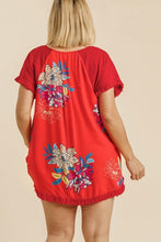 Load image into Gallery viewer, Umgee Candy Apple Red Top with Floral Print Back