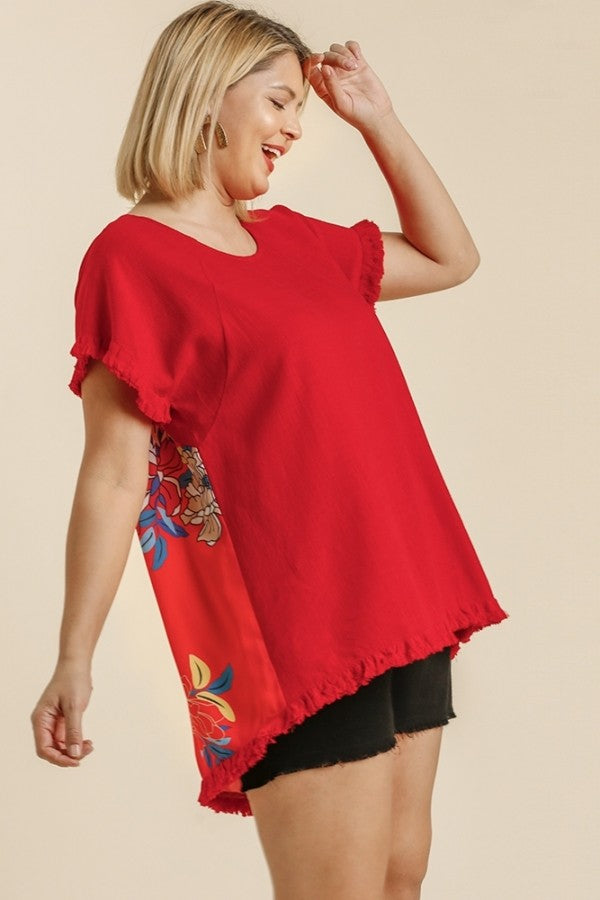 Umgee Candy Apple Red Top with Floral Print Back