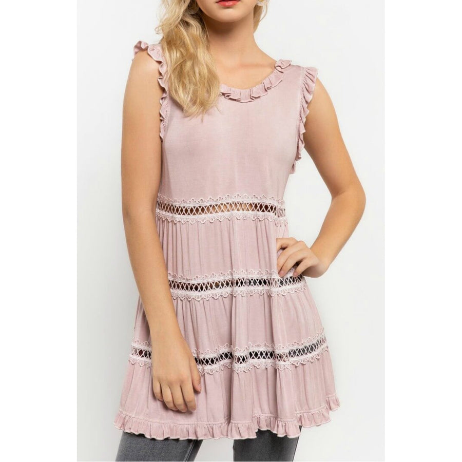 Pink Tiered Top with Ruffle Details - June Adel