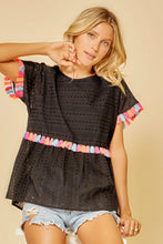 Load image into Gallery viewer, Black Babydoll Top with Colorful Tassel Details