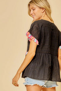 Black Babydoll Top with Colorful Tassel Details