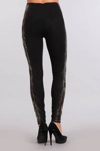 M. Rena Denim Leggings with Side Brushed Sublimation Print - June Adel