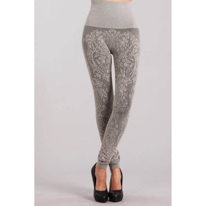 M. Rena Latte Jacquard Paisley Seamless Leggings - June Adel