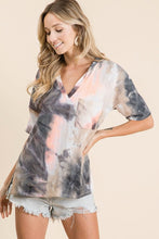 Load image into Gallery viewer, Coral and Charcoal Tie Dye Top - June Adel