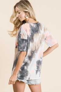 Coral and Charcoal Tie Dye Top - June Adel