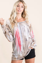 Load image into Gallery viewer, BiBi Tie Dye Top with Animal Print Shoulders