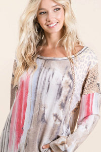 BiBi Tie Dye Top with Animal Print Shoulders