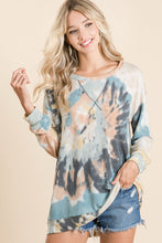 Load image into Gallery viewer, BiBi Tie Dye Pullover in Teal Mix