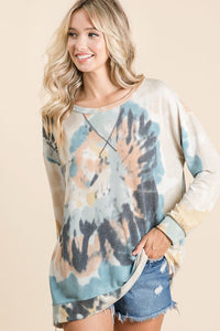 BiBi Tie Dye Pullover in Teal Mix