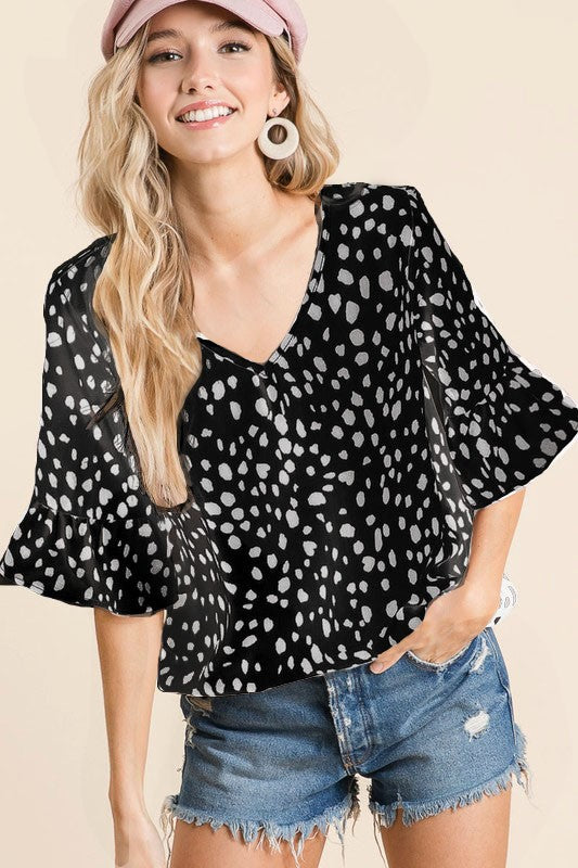 Black Dalmatian Print Top by BiBi - June Adel