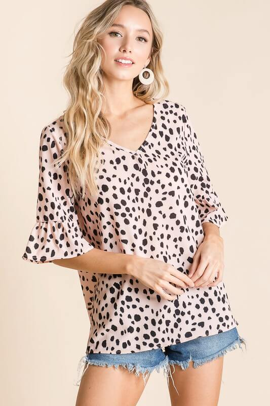 Blush Dalmatian Print Top by BiBi - June Adel