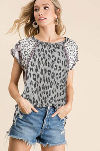 BiBi Gray Leopard Print Top - June Adel