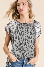 Load image into Gallery viewer, BiBi Gray Leopard Print Top - June Adel
