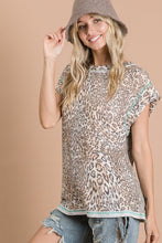 Load image into Gallery viewer, Leopard Print Top with Mint Trim