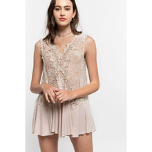Load image into Gallery viewer, Beige Sleeveless Top with Contrasting Lace Details - June Adel