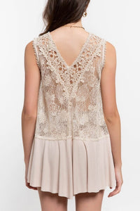 Beige Sleeveless Top with Contrasting Lace Details - June Adel