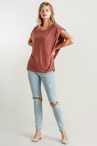 Umgee Dolman Top in Red Clay