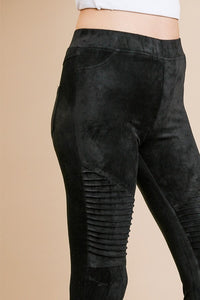 Black Suede Moto Jeggings with Ankle Zippers - June Adel