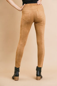 Walnut Suede Moto Jeggings with Ankle Zippers - June Adel