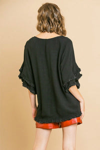 Umgee Black Top with Ruffle Sleeves and Frayed Trim