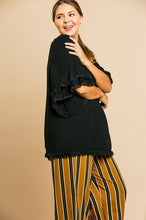 Load image into Gallery viewer, Umgee Black Top with Ruffle Sleeves and Frayed Trim