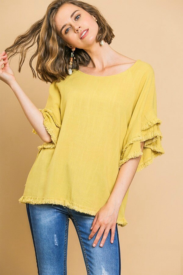 Umgee Golden Yellow Linen Blend Top with Frayed Trim - June Adel