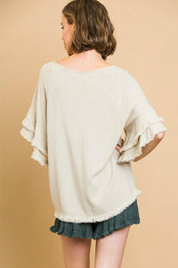 Umgee Oatmeal Top with Ruffle Sleeves and Frayed Trim - June Adel