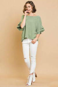 Umgee Sage Green Top with Ruffle Sleeves and Frayed Trim - June Adel
