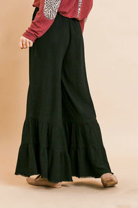 Umgee Black Ruffle Pants