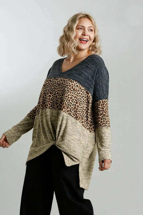 Umgee Color Block Heather Knit Animal Print Top in Black Mix