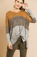 Load image into Gallery viewer, Umgee Color Block Heather Knit Animal Print Top in Mustard Mix