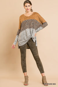 Umgee Color Block Heather Knit Animal Print Top in Mustard Mix