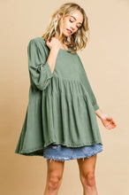 Load image into Gallery viewer, Umgee Lagoon Babydoll Top with Ruffle Hem
