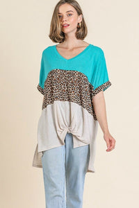 Umgee Animal Print and Turquoise Mix Color Block Top