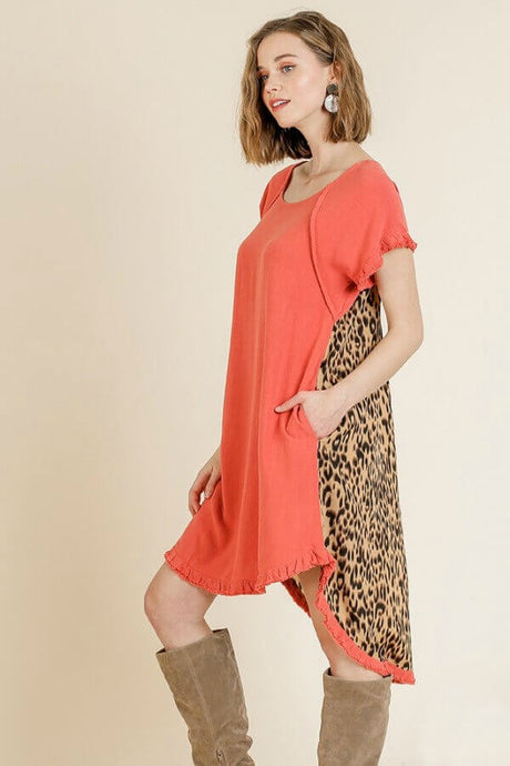 Umgee Carrot Dress with Animal Print Back - June Adel