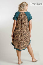 Load image into Gallery viewer, Umgee Dark Teal Dress with Animal Print Back