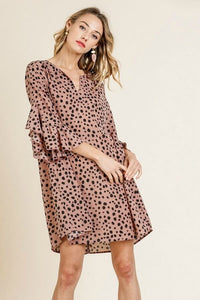 Umgee Dalmatian Print Split Neck Dress in Dusty Rose