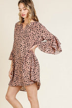 Load image into Gallery viewer, Umgee Dalmatian Print Split Neck Dress in Dusty Rose