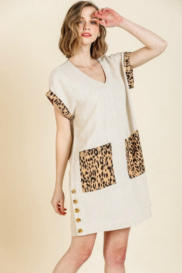 Umgee Oatmeal Dress with Animal Print Trim and Front Pockets - June Adel