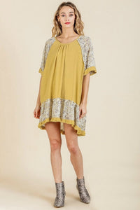 Umgee High Low Dress with Floral Print Trim in Golden Yellow - June Adel