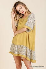 Load image into Gallery viewer, Umgee High Low Dress with Floral Print Trim in Golden Yellow - June Adel