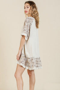 Umgee High Low Dress with Floral Print Trim in Oatmeal - June Adel