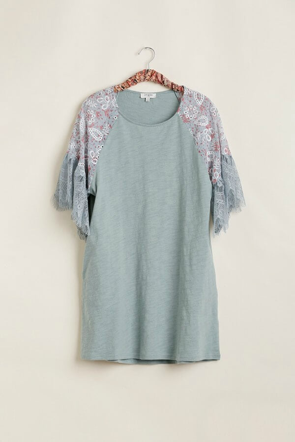 Umgee Dress with Eyelet Lace Printed Sleeves in Lagoon - June Adel