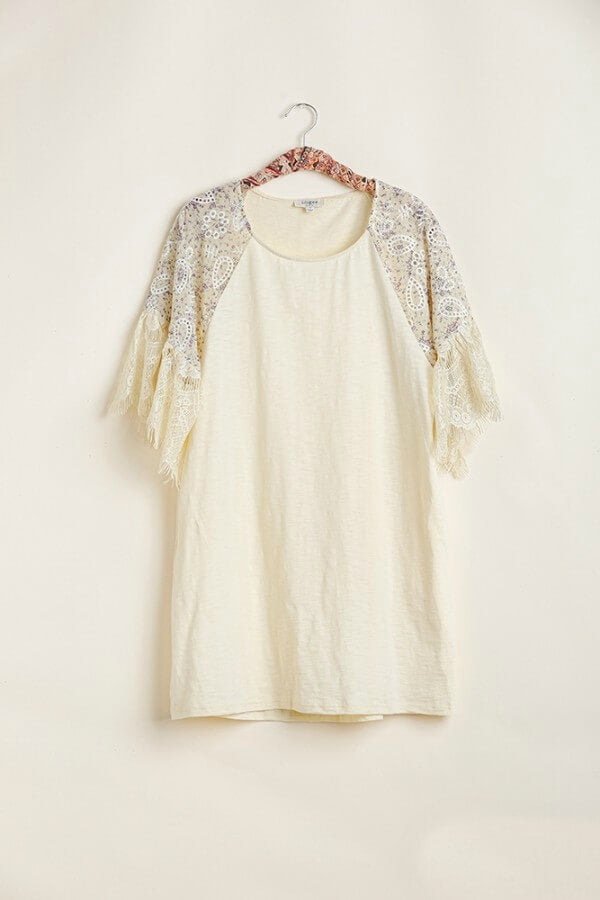 Umgee Dress with Eyelet Lace Printed Sleeves in Oatmeal - June Adel