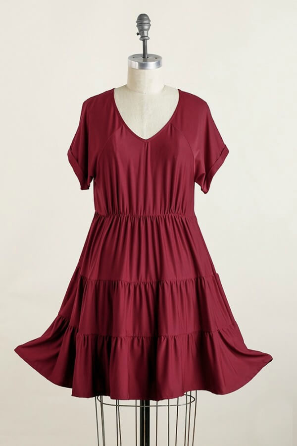 Umgee Wine Tiered Dress